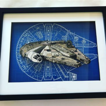 Star Wars Millenium Falcon 3D Diorama Shadow Box Art